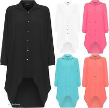 Ladies Womens Button Hi Lo Long Sleeve Collared Chiffon Shirt Dress Top 10-26