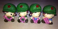 4 Vintage Resin Figures Children LOVE word Green Caps & Red Star Communist