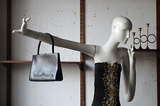 Damen Handtasche Tasche Leder black real leather 60er True VINTAGE 60s Kudamm