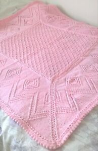 STUNNING HAND KNITTED BABY SHAWL/BLANKET 38 X 38 INS PINK SPOT