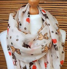 OVERSIZE LADIES SOFT LOVELY DOG PRINT FASHION SCARF*CREAM*BRAND NEW 100% VISCOSE