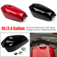 9L/2.4Gal Universal Motorcycle Cafe Racer Vintage Fuel Gas Tank & Cap Switch Set