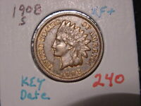 1908-S INDIAN HEAD CENT XF + NICE VERY ATTRACTIVE COIN