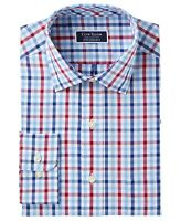 Club Room NEW Blue Red Mens 15 1/2 Plaid Print One Pocket Dress Shirt $55 596