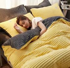 Hot sell Home Flannel Bedding Set Duvet Cover Bed Sheet Sets Stripe Pattern 4pcs