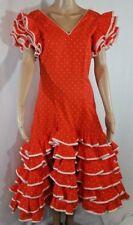 Paso Doble Spanish Dress SPAIN Orange&White Ruffles Vtg Authentic Size S/M Rare