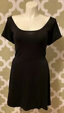 Derek Heart Womens Dress Size 2X Solid Black With Back Cutout Short Sleeve