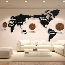 3D World Map Wall Clocks Diy Wooden Art Home Living Room Decor Wall Sticks Mute
