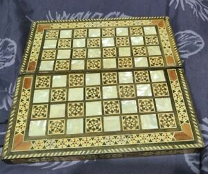 Backgammon / Chess Board Wooden Folding Inlaid Mother Of Pearl Vintage