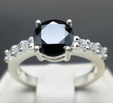 1.60 to 2.30cts Real Natural Black Diamond Engagement Ring AAA Grade $1200 Value