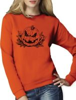 Evil Pumpkin Face JACK O' LANTERN Easy Halloween Costume Women Sweatshirt Gift
