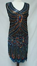 1920s FLAPPER STYLE SHOW STOPPER BEADED & SEQUIN DRESS