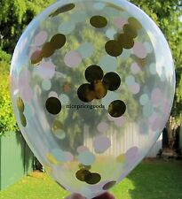 1 CLEAR 18INCH/45CM LT PINK/MINT/GOLD CONFETTI BALLOON. BABY EVENTS WEDDINGS