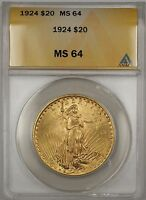 1924 $20 Dollar St. Gaudens Double Eagle Gold Coin ANACS MS-64 BP