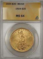 1924 $20 Dollar St. Gaudens Double Eagle Gold Coin ANACS MS-64 BP