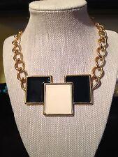 Awesome Vintage Art Deco Monet Enamel & Gold Tone Metal Necklace