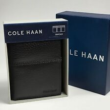 Cole Haan Men's Tri -Fold Pebbled Leather Wallet.Chocolate Brown. MSRP $88.00