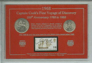 Captain Cook First Voyage of Discovery Explorer Coin & Stamp Collector Gift Set