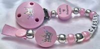 ♕ Personalised DUMMY CLIP Max 10 Letters ♕ LITTLE PRINCESS ♕ Pink & Silver ♕