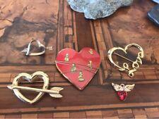 Rare Heart Lot Brooch Some Signed Avon Lotto Spilla Cuore Vintage