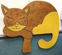 "Vintage 13"" Lazy Cute Sleeping Wood Shelf Ledge Kitty Kitten Cat Cutout Art"