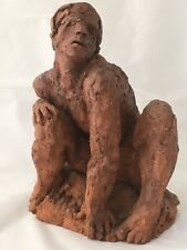 Large Terra-cotta Clay Sculpture Male Nude Signed HO OH Dated 1969