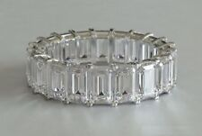 Certified 7.50Ct White Emerald Diamond Eternity Wedding Ring in 14K White Gold