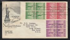 USA. 1940 National Defence First Day Cover, blocks of 4