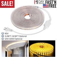 110V LED Strip Light SMD 5050 Flexible Tape Home Outdoor Lighting Rope + US Plug