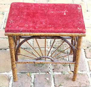ANTIQUE VICTORIAN FAUX TORTOISE BAMBOO FURNITURE FOOTSTOOL
