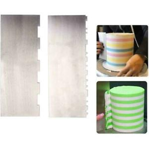 Cake Scraper Stainless Steel Stripe Cake Comb Two Sided Tools Baking K7T6