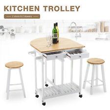 Kitchen Rolling Island Cart Trolley Dining Storage Cabinet Sideboard on Wheels