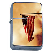 Windproof Refillable Oil Lighter Vintage American Flag D3 Patriotic Stars Honor