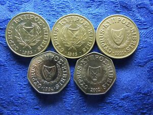 CYPRUS 20 CENTS 1983, 1985, 1991 KM57.1, .2, .3, 50 CENTS 1994, 2002 KM62.2