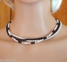 "Black Onyx Gemstone, Swarovski Ivory & Silver 4mm Beaded 3-Strand 16"" Necklace"