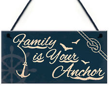 Seaside Family Is Your Anchor Shabby Chic Hanging Plaque Nautical Themed Decor
