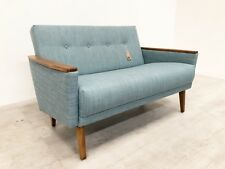 VINTAGE MODEL 55 DANISH MID CENTURY 50S 60S 2 SEAT COCKTAIL SOFA SETTEE IN JADE