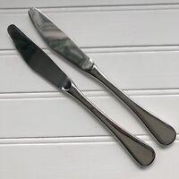 2 Vintage Cromargan WMF Finesse Spain Dinner Knife Glossy Stainless Pair Knives