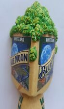 BEER TAP HANDLE BLUE MOON WHITE IPA WOOD BODY RAISED RIBBON W/LETTERING