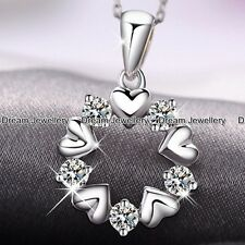 Hollow Circle of Hearts Silver Diamond Necklace Chirstmas Gifts Fo Her Girl Mum