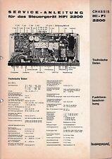 Service Manual-Istruzioni per Imperial CENTRALINA Hi-Fi 2200