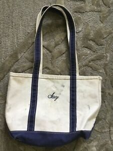 VINTAGE CANVAS LL BEAN BOAT AND TOTE BAG MEDIUM NAVY BLUE LONG HANDLES USA STACY