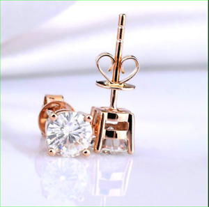 4Ct Round Cut Simulated Moissanite Solitaire Stud Earrings 14K Rose Gold Finish