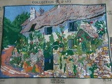 Country Thatch Cottage garden Flowers  completed tapestry picture