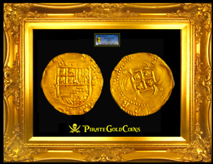 SPAIN 4 ESCUDOS NGC 55 PIRATE GOLD COINS TREASURE ATOCHA ERA 1630 DOUBLOON COB