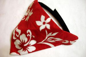Small Dog Neckerchief Bandana - Colorful Red Tropical Hibiscus Design