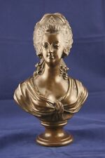 "19TH MARIE ANTOINETTE BUST BRONZE by BRACHARD ROYALIST SCULPTURE FRANCE 11"" 3/4"
