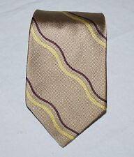 "Paul Stuart Mans Tie Hand Sewn Fine Silk 56"" Tan Brown Gold Hand Sewn in Italy"