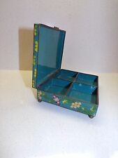 VTG LARGE CLOISONNE FOOTED CHINESE ASIAN COMPARTMENT JEWELRY TRINKET BOX 171