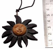 Usa Organic Wooden Pendant Necklace P_1188 Hand Carved Hippie Hippie Sun Design